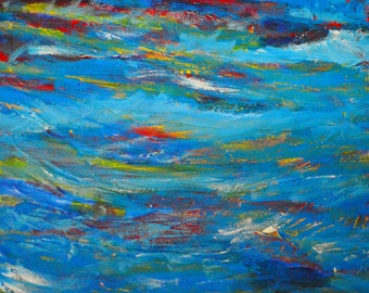 Abstract Stormy Sea Mixed Media Painting 16 x 21