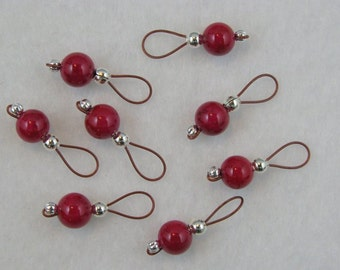 Rose Red Fossil Bead Stitch Markers  On Brick Red Wire - US 5 - Item No. 956