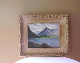 Vintage Mountain & Lake Scene Painting