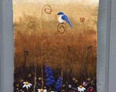 RESERVED for KIM! No.20 Bluebird Too - Wet felted wall hanging
