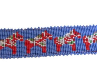 Dala horse beaded band, swedish horses, bead loom pattern, instant digital download!