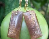 Reserved...Sunstone rectangle, 14k gold filled earrings