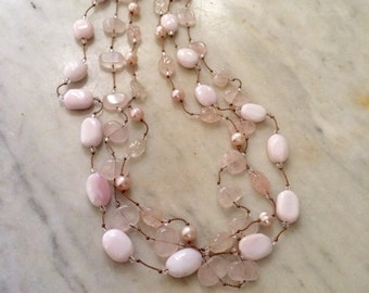 Triple Strand Necklace with Pearls, Rose Quartz and. Pink Opal