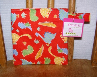 Reusable Little Snack Bag - pouch adults kids dinosaurs eco friendly by PETUNIAS