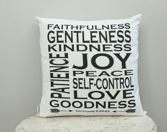 Pillow cover fruit of the spirit 18 inch modern hipster accessory home decor nursery baby gift present zipper closure canvas ready to ship