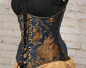 Waist 27-29 Blue and Gold Medallion Wench Corset