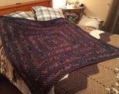Gray Varigated Colors Crocheted Granny Square Afghan/Blanket/Throw