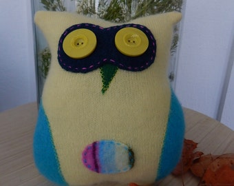 Recycled Cashmere Owl Tooth Fairy Pillow - Yellow and Blue