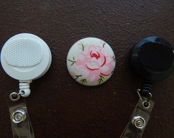Fabric Covered Button for Clip on Retractable Badge Reel - Rose