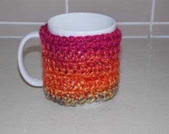 crocheted coffee cuff mug cup cozy cover - bright aqua green yellow orange berry