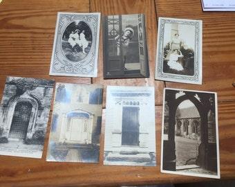 Seven sepia tone antique vintage postcards