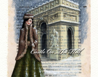 Paris painting 1950s - Arc de Triomphe in the Snow - original painting on book page