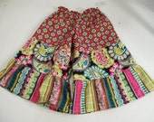 Girls Palazzo Pants in Stripes Floral and Geo, Gift for Girls, girls Clothing, Made in the USA, #863