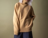 coming soon - four ply lambswool turtleneck sweater / mustard yellow sweater / slouchy sweater / s / m / 1412t