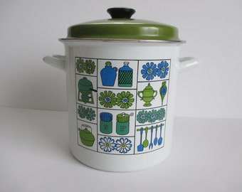 Enamelware Steamer Pot Blue Green Retro Vintage with insert