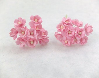 20 pink mulberry paper hydrangea - paper flowers