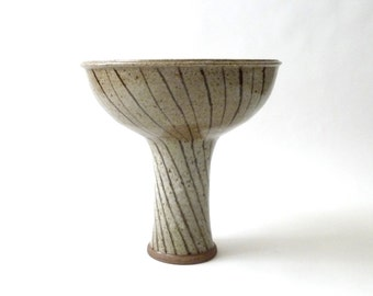 1970s Modernist Studio Pottery Vessel  Compote  Striped