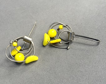 neon yellow dangle earrings kinetic earrings oxidized sterling sculptural statement earrings whimisical fun