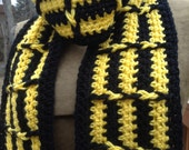 Black and Yellow Scarf Geometric Crochet Optical Illusion Acid Trip Magic Superhero fan gear