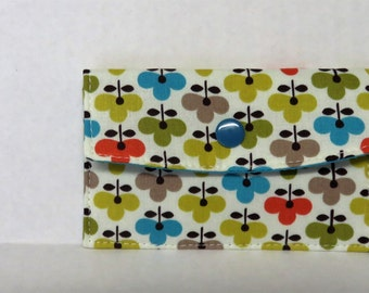 Mini Wallet - Gift Card Holder - Debit Credit Card Case -  Business Card Case  - Snap Closure - Multi Color Mod Flowers Fabric