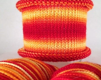 Feel The Heat: Hand-dyed gradient self-striping sock yarn, 80/20 SW merino nylon