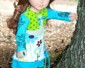 "18 inch doll dress, Fall winter Aqua green 18"" girl doll dress, american handmade jersey doll dress, long sleeve doll dress fox dress"