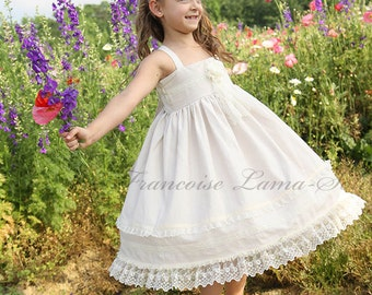 Flower Girl Organic wedding Church birthday Easter vintage  ivory white linen lace twirl Dress Size 12 months  to 12 yrs - Ivory Rose