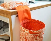 Orange Print - Thread Catcher, Scrap Caddy, Pincushion, Studio Companion