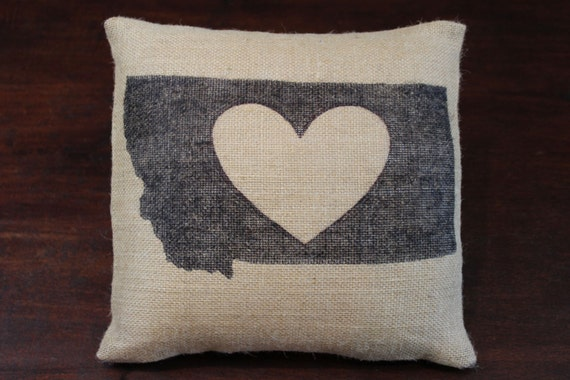 My heart is in Montana - burlap throw pillow