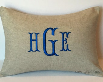 Custom Monogram Decorative Pillow Cover 12 x 16. Personalized Nursery Decor. Baby's Room. Farmhouse Chic. Embroidered Gift. SewGracious
