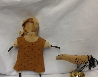 PreHalloweenSale Primitive Prairie Doll or Bird On Doorknob