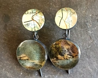 Postcard Earrings Vintage  Coastline Map Rolling River Rocks Sterling Silver Oxidized : Traveling Love Letters Free US Shipping