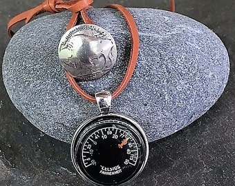 Thermometer Necklace Celsius and Fahrenheit Temperatures Antiqued Silver Honey Brown Leather Cord Buffalo Nickel Button Free US Shipping