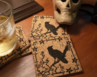 Sakura Crow - block print coasters - set of 4