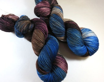 Hand Painted 2-Ply Superwash Merino and Nylon Sock -- Doctor Who: Mad Man With a Box