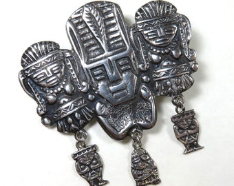 SJK Vintage -- 900 Silver Aztec, Inca, Incan, Mayan Tribal Figural Brooch with Dangling Charms (1920's-40's)