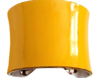 Deep Canary Yellow Patent Leather Silver lined Cuff - by UNEARTHED