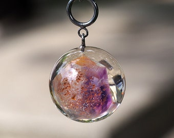 Resin Necklace with Amethyst, Sterling Silver Necklace, Resin Jewellery