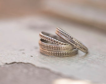Textured sterling stacking ring set
