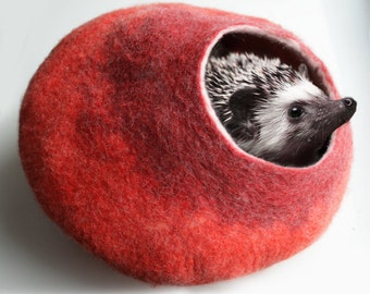 Cat / Nap Cocoon / Cave / Bed / House / Vessel - Hand Felted Wool - Crisp Contemporary Design - READY TO SHIP Warm Orange Red Bubble