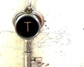 Letter T charm pendant typewriter key vintage necklace
