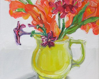 Gladiolus with Petunias original acrylic still life painting by Polly Jones
