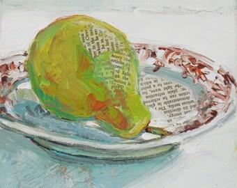 Pear Theory original mixed media still life painting by Polly Jones