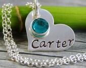 Fabriquées à la main Collier coeur - bijoux personnalisés - collier maman - Collier coeur en argent Sterling - un nom une pierre de naissance
