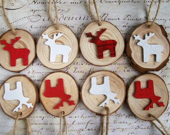 Red & white reindeer natural wood slice rustic Christmas ornaments decorations set of 8