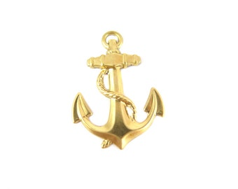 Brass Anchor and Rope Pendant (4x) (M851)