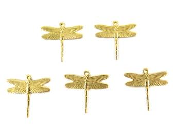 Medium Brass Dragonfly Charms (8X) (M856-A)