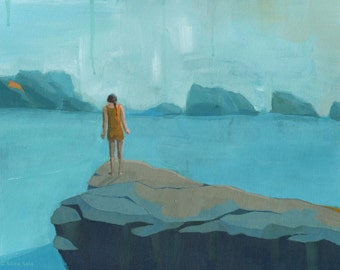 And the River Flows On - Original Acrylic Painting of girl standing on a cliff ocean seascape