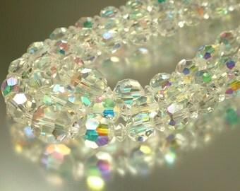 Vintage/ estate 1950s glam, three row, aurora borealis crystal bead costume necklace with paste clasp - jewelry jewellery