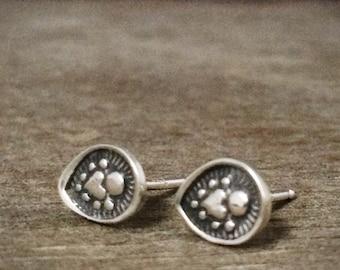 Sterling silver studs - stud earrings - unique earrings - tribal earrings - heart earrings - sacred heart